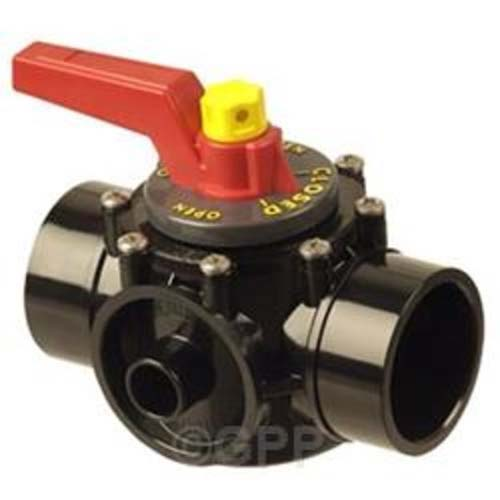 "Diverter Valve, 2 Port, 2""S (2-1/2"" Spg), Praher Perma-Seal, Black CPVC"