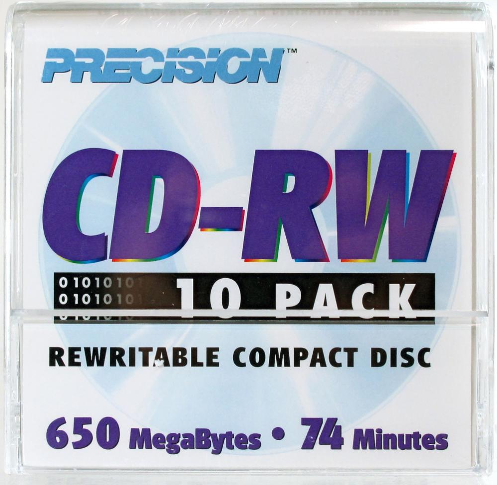 Precision CD-R reWritable 74-Minute 650MB, 10-Pack in Envelopes