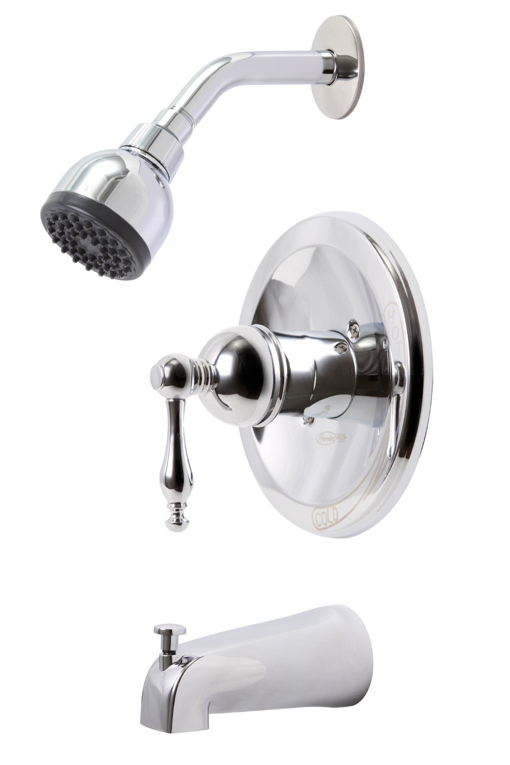 WELLINGTON SINGLE-HANDLE CERAMIC DISC TUB AND SHOWER FAUCET SET, CHROME