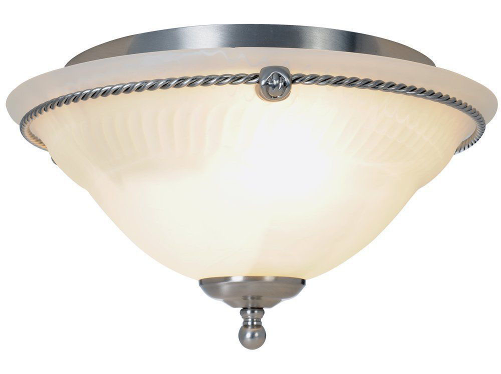 Torino Flush Mount Ceiling Fixture, Maximum Two 60W Incandescent Medium Base Bulbs, Brushed Nickel