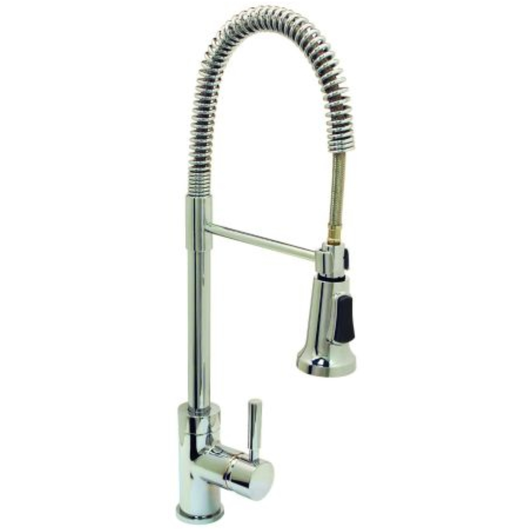 LEAD-FREE ESSEN� INDUSTRIAL-STYLE KITCHEN FAUCET WITH PULL-DOWN SPOUT AND METAL SINGLE-LEVER HANDLE, BRUSHED NICKEL