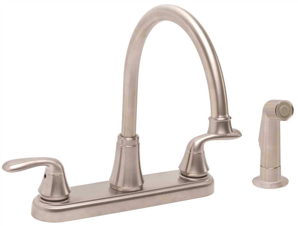 Premier Waterfront Lead-Free Two-Handle Kitchen Faucet with Spray, PVD Brushed Nickel