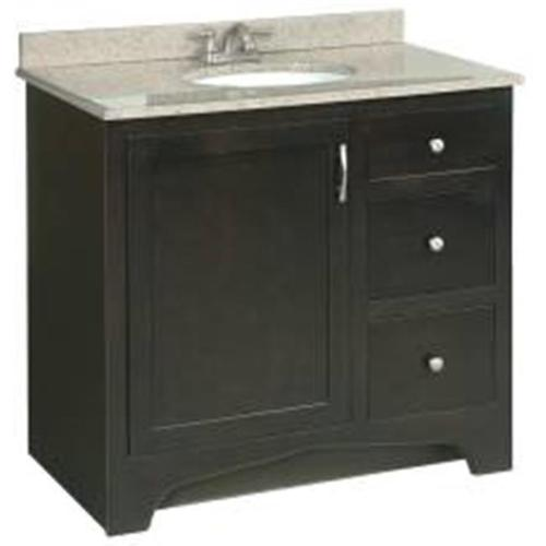DESIGN HOUSE� VENTURA BATHROOM VANITY CABINET, READY TO ASSEMBLE, 1 DOOR, 2 DRAWER, 1 FALSE DRAWER, ESPRESSO, 36X33.5X21""