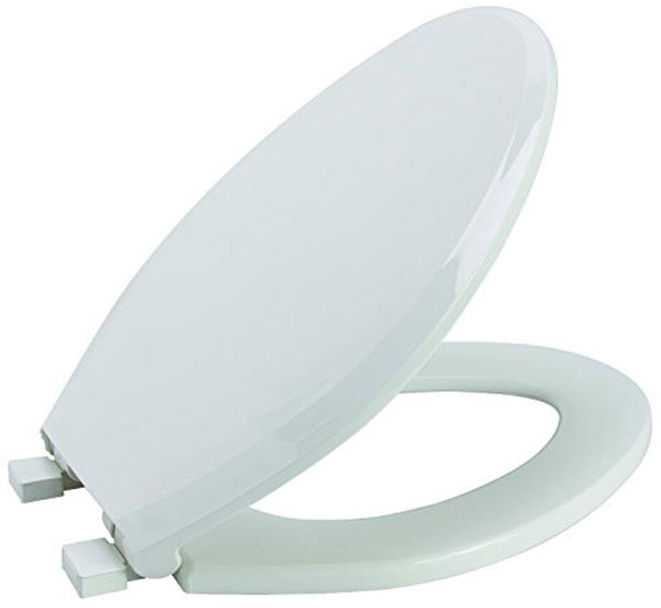 PREMIER HEAVY-DUTY ROUND OPEN FRONT PLASTIC TOILET SEAT WITH LID, WHITE
