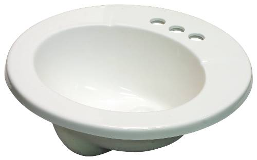 BATHROOM VANITY DROP-IN SINK, CULTURED MARBLE, ROUND, WHITE, 19X19""