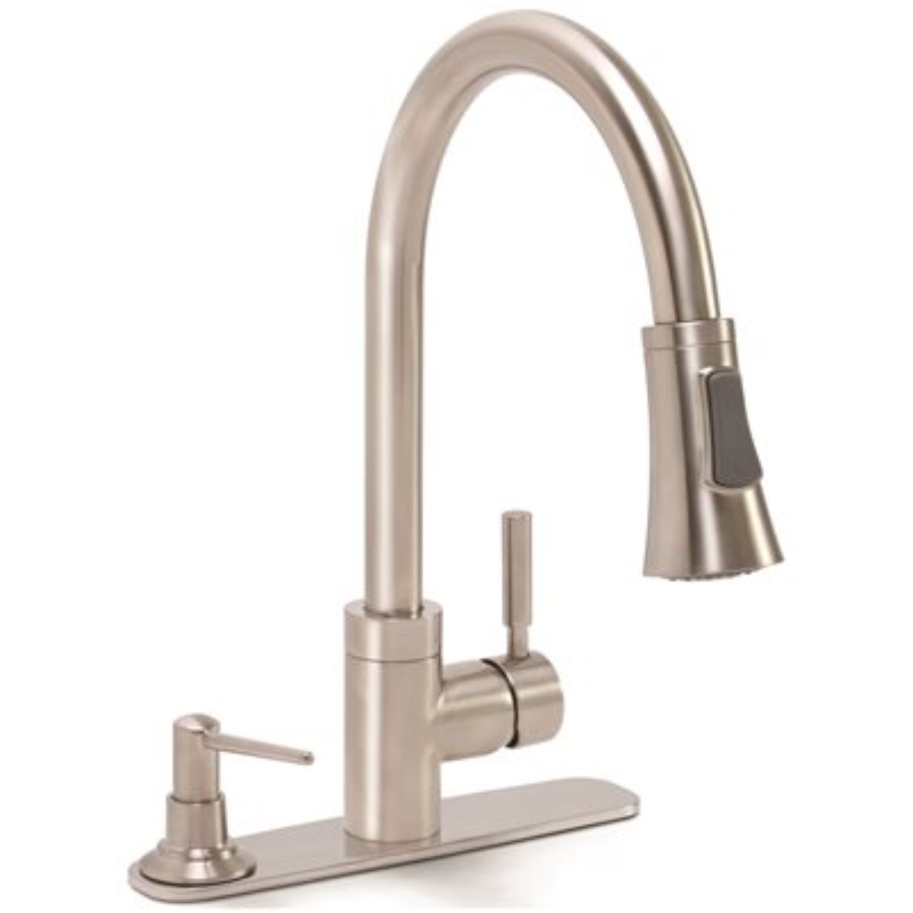 ESSEN� KITCHEN FAUCET WITH PULL DOWN SPOUT, SINGLE METAL LEVER HANDLE, AND ON DECK SOAP DISPENSER, BRUSHED NICKEL