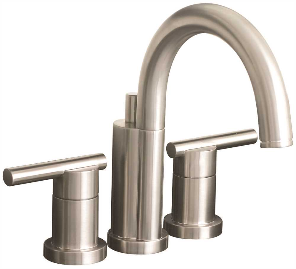 ESSEN� MINI WIDESPREAD BATHROOM FAUCET WITH METAL LEVER HANDLES, 4 IN. CENTERS, AND BRASS POP UP, BRUSHED NICKEL, LEAD FREE