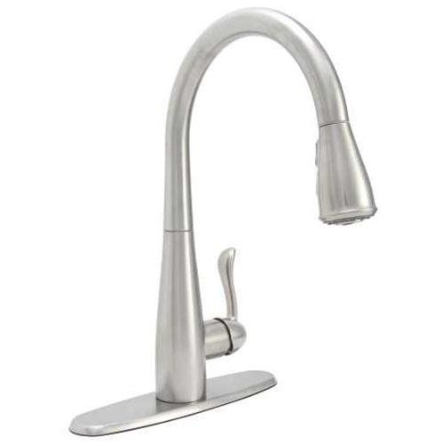 PREMIER SANIBEL SINGLE HANDLE PULL-DOWN KITCHEN FAUCET SATIN STAINLESS FINISH