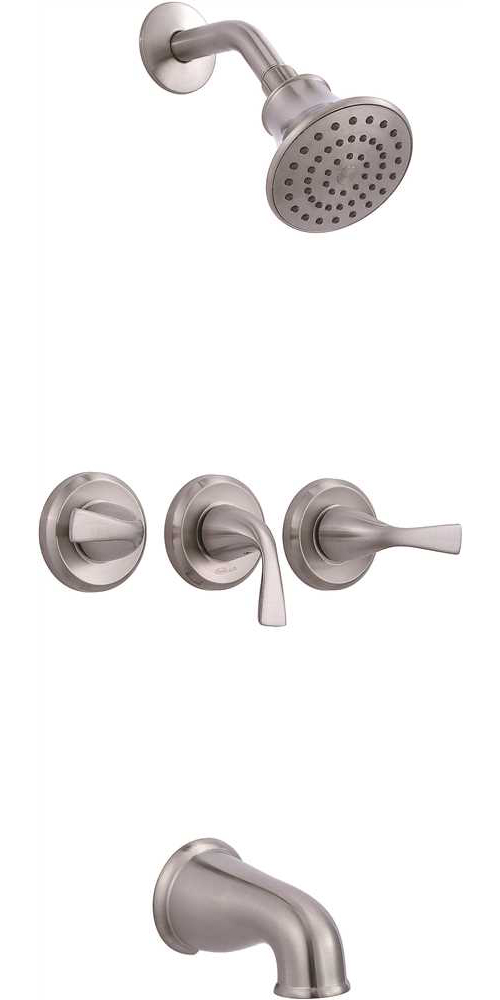 PREMIER� SANIBEL� THREE-HANDLE TUB & SHOWER FAUCET, BRUSHED NICKEL