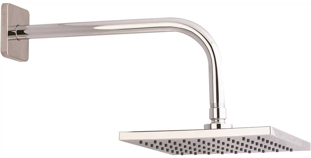 PREMIER� SINGLE FUNCTION SQUARE RAINCAN SHOWERHEAD WITH STAINLESS STEEL ARM AND FLANGE, 8 IN., CHROME FINISH