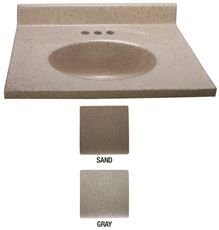 PREMIER� BATHROOM VANITY TOP WITH BACKSPLASH AND OVAL BOWL, 4 IN. CENTER, MARBLE, BONE, 25 IN. X 19 IN.