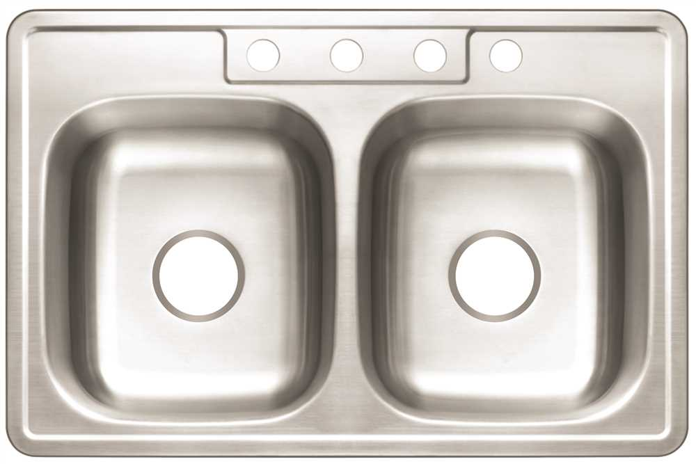 PREMIER� 4-HOLE DOUBLE BOWL SINK,  22-GAUGE, STAINLESS STEEL,  33 IN. X 22 IN. X 6 IN.