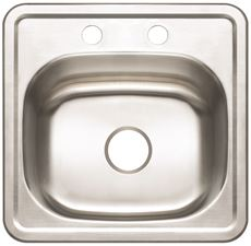 PREMIER� 2-HOLE BAR SINK, 23-GAUGE, STAINLESS STEEL, 15 IN. X 15 IN. X 5-1/8 IN.