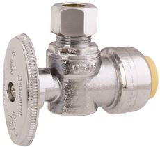 PREMIER� BRASS PUSH-FIT ANGLE STOP, 1/2 IN. X 3/8 IN. OD COMPRESSION, LEAD-FREE