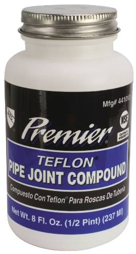 PREMIER PREMIUM-GRADE TEFLON ALL-PURPOSE PIPE JOINT COMPOUND, 8 OZ. BOTTLE