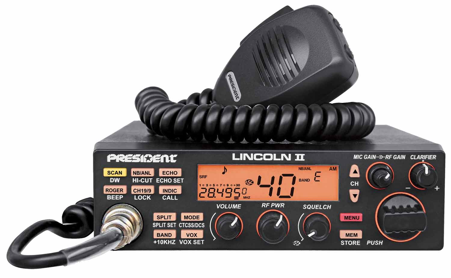 PRESIDENT - LINCOLNII 10 METER AMATEUR HAM RADIO WITH SELECTABLE 3 COLOR (AMBER, BLUE, GREEN) FACE, LCD FREQUENCY DISPLAY CTCSS/