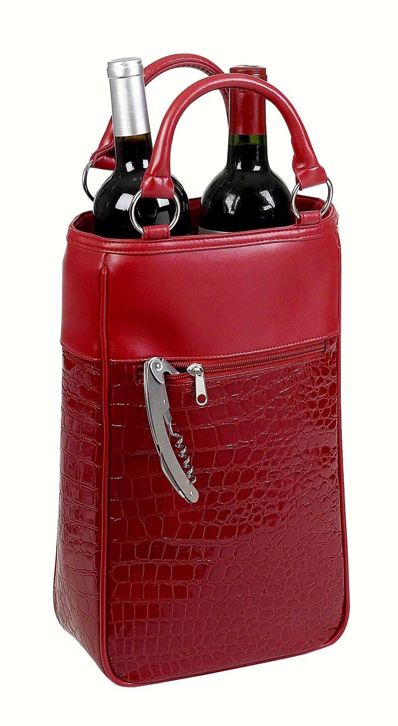 Insluated Two Bottle Wine Tote - Red Croc