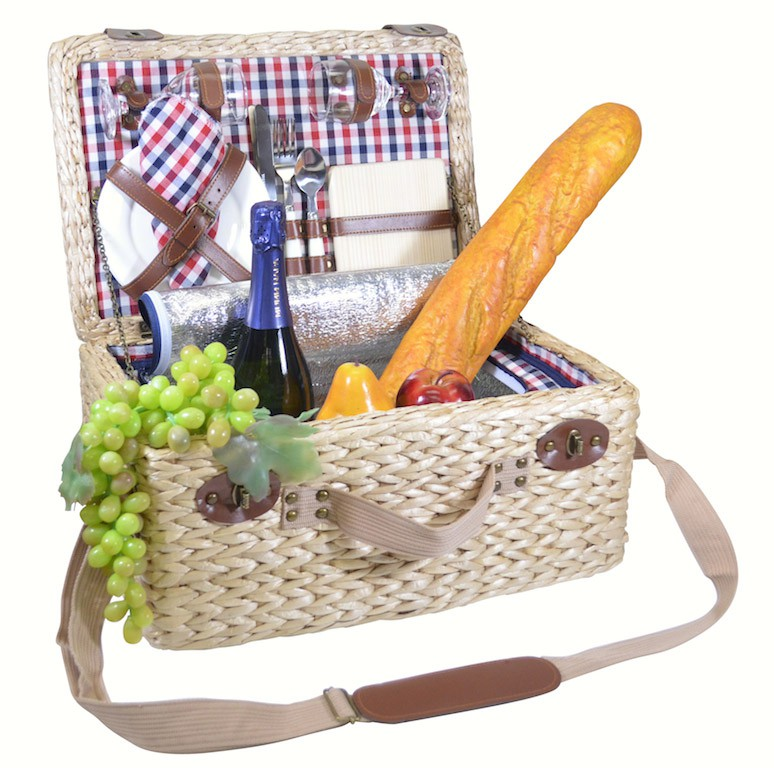 Deluxe Two Person Insulated Picnic Basket with Checker lining