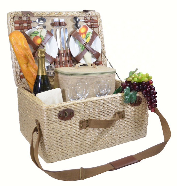 Deluxe Four Person Picnic Basket with Tan Floral/Fruits lining