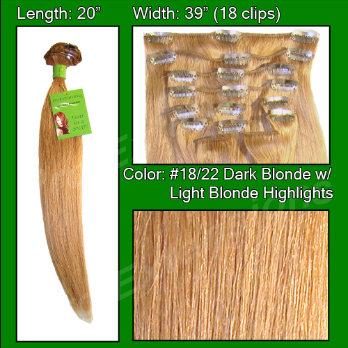 #18/22 Dark Blonde w/ Light Blonde Highlights - 20 inch Remi