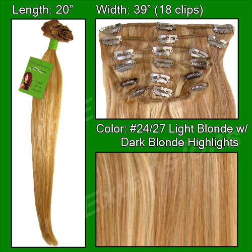 #24/27 Medium Blonde w/ Dark Blonde Highlights- 20 inch Remi