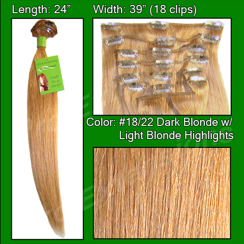 #18/22 Dark Blonde with Golden Highlights - 24 inch