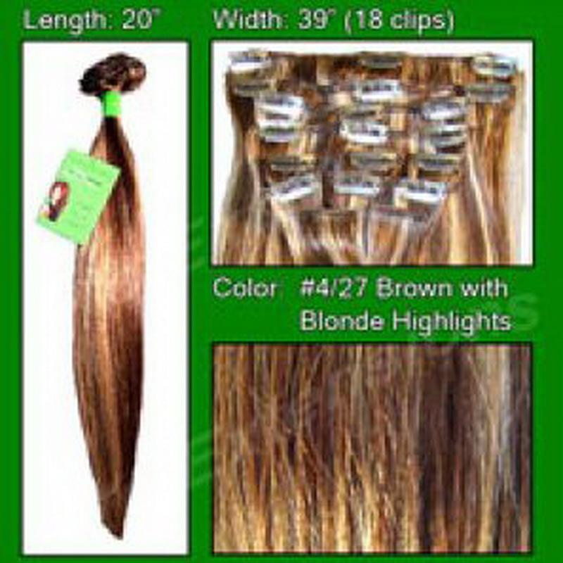 #4/27 Dark Brown w/ Golden Blonde Highlights - 20 inch
