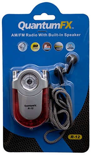 QUANTUM FX R12 RED AM FM RADIO WITH LED FLASHLIGHT BELT CLIP