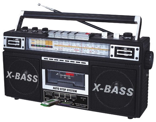 QFX J22UBK BLACK RADIO AND CASSETTE TO MP3 CONVERTER WITH