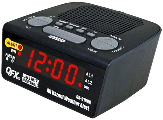 QFX CR91NOA RADIO CLOCK ALL HAZARD WEATHER ALERT FM AM AND