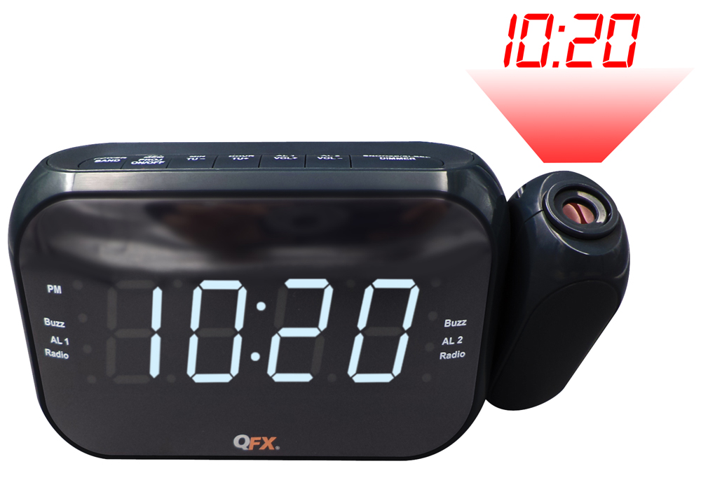 QFX CR35P ALARM CLOCK RADIO WITH AM/FM LED DUAL PROJECTION