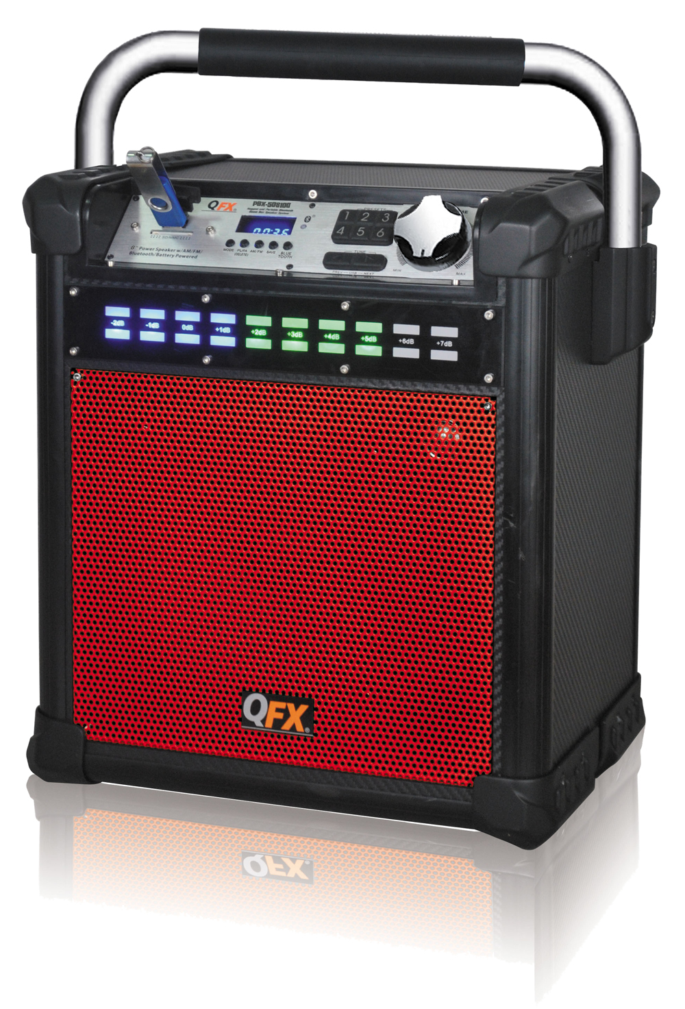 QFX PBX508100 RED PORTABLE PARTY SPEAKER WITH AM/FM RADIO