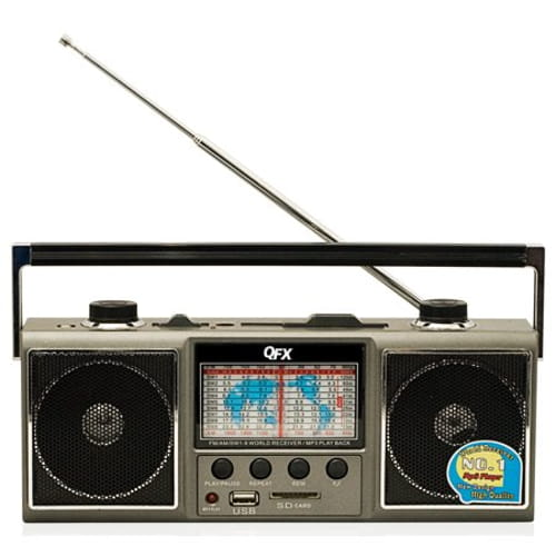 QFX J114U AM FM SHORT WAVE RADIO WITH USB & SD CARD SLOT