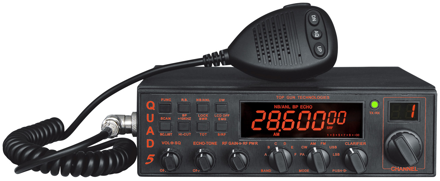 QUAD5 - DELUXE 50+ WATT ALL MODE (AM/ FM /SSB/CW) 10 METER RADIO WITH SWR METER, DUAL WATCH, TALK-BACK & ONE-TOUCH 4 PIN MICROPH
