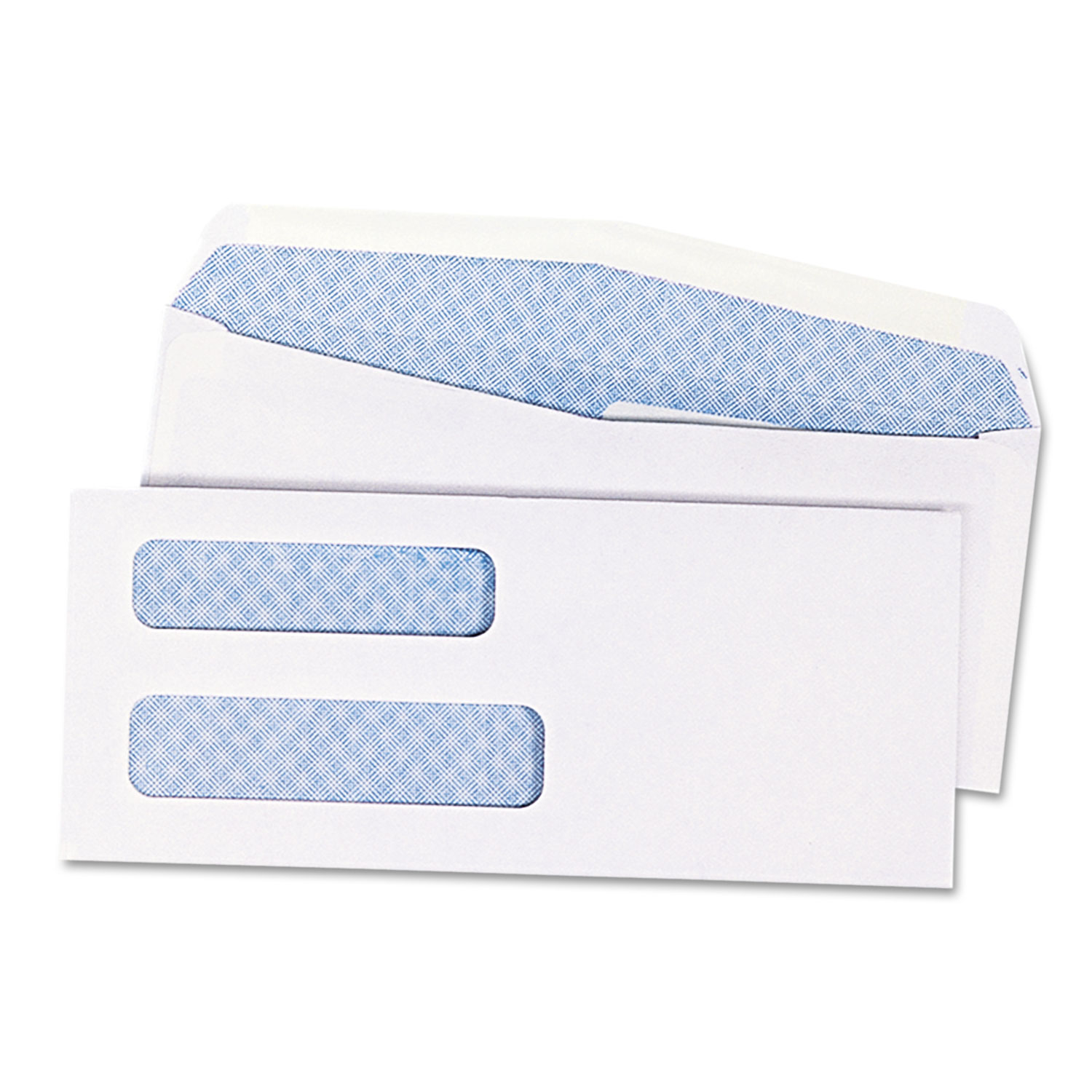 2-Window Security Tinted Check Envelope, #8 5/8, 3 5/8 x 8 5/8, White, 1000/Box
