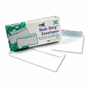 Redi Strip Security Tinted Envelope, #10, 4 1/8 x 9 1/2, White, 30/Box