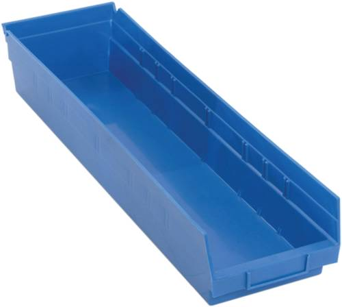 "QUANTUM STORAGE SYSTEMS ECONOMY SHELF BIN, 23-5/8"" X 6-5/8"" X 4"", BLUE"
