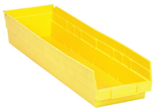 "QUANTUM STORAGE SYSTEMS ECONOMY SHELF BIN, 23-5/8"" X 6-5/8"" X 4"", YELLOW"
