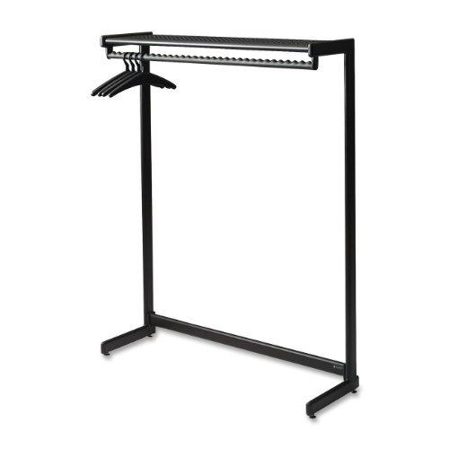 "Single-Side Garment Rack w/Shelf, Powder Coated Textured Steel, 48"" Wide, Black"