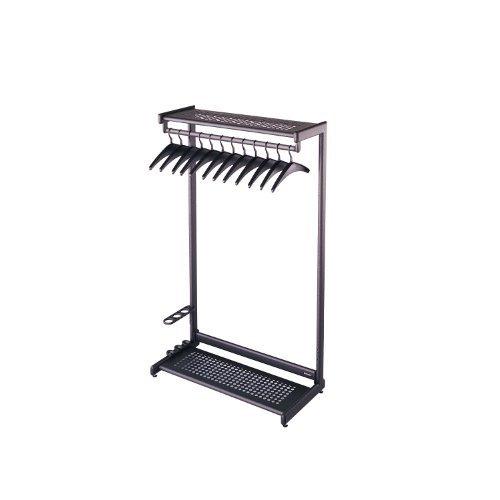"""Single-Side, Garment Rack w/Two Shelves, Eight Hangers, Steel, 24"""" Wide, Black"""