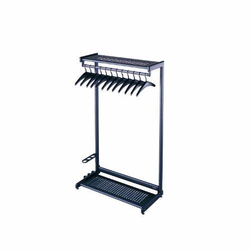 """Single-Sided Rack w/Two Shelves, 12 Hangers, Steel, 48"""" Wide, Black"""