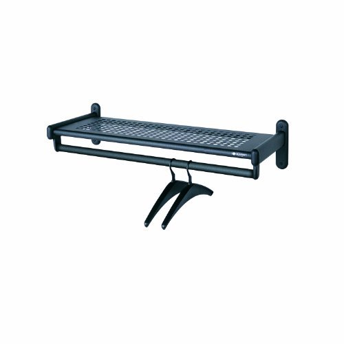 Metal Wall Shelf Rack, Powder Coated Textured Steel, 36w x 14-1/2d x 6h, Black