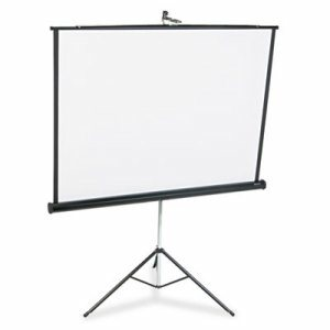 Portable Tripod Projection Screen, 60 x 60, White Matte, Black Steel Case