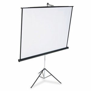 Portable Tripod Projection Screen, 70 x 70, White Matte, Black Steel Case