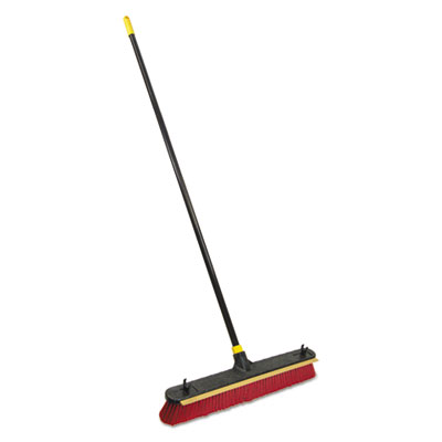 "2-in-1 Squeegee Pushbroom, 24"" Brush, 60"" Handle, PET/Steel, Red/Black/Yellow"