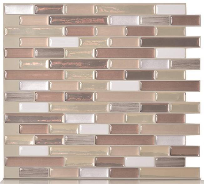 Quinco SM1053-1 Wall Tile, 10.2 in L x 9.1 in W x 1/8 in T, Durango