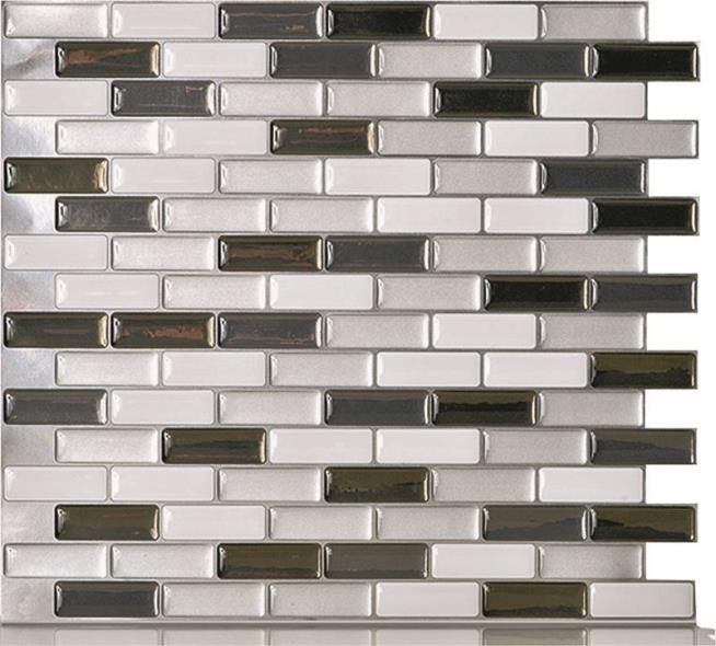 Quinco SM1030-6 Wall Tile, 10.2 in L x 9.1 in W x 3/4 in T, Metallic