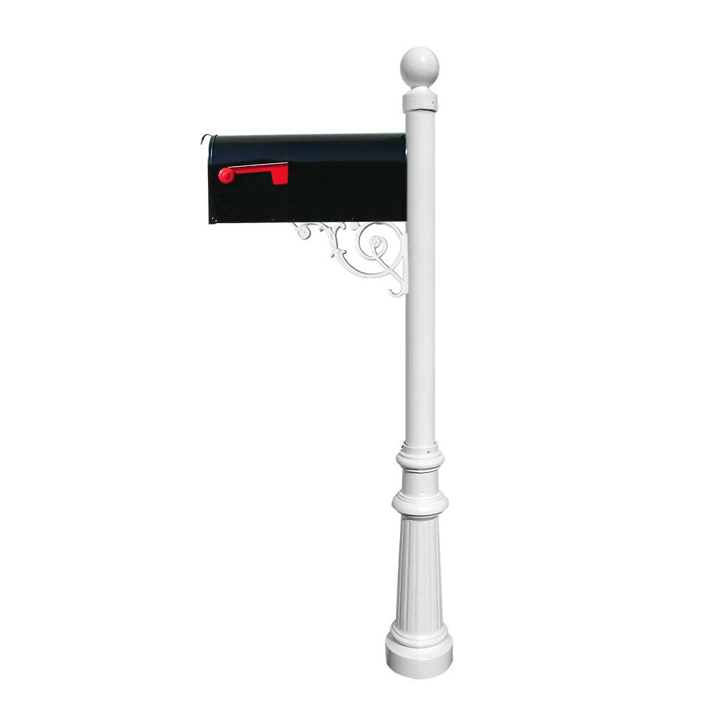 Lewiston Post (White) with Support Brace, E1 Economy Mailbox, Mounting Plate, Fluted Base & Ball Finial