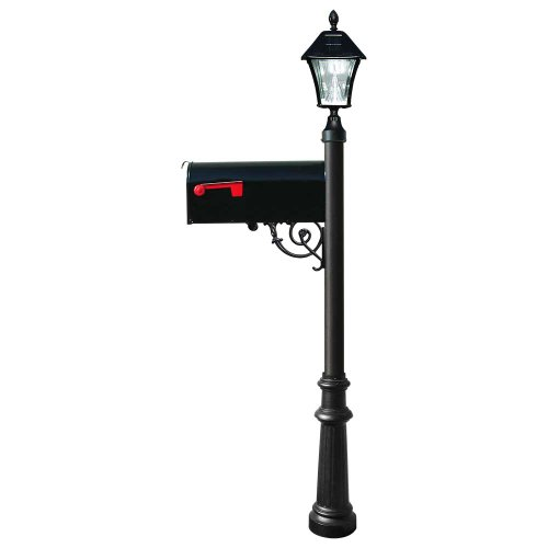 Lewiston Post (Black) with Economy #1 Mailbox, Fluted Base, Black Solar Lamp