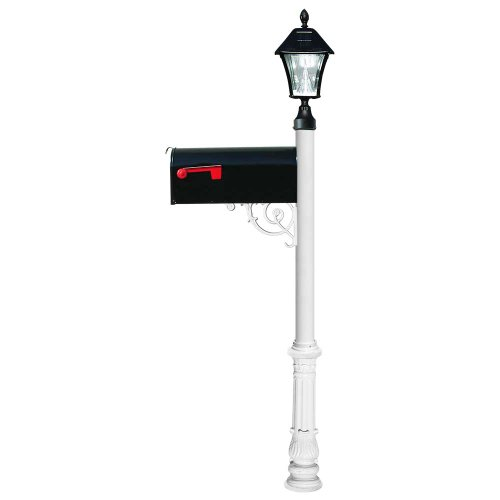 Lewiston Post (White) with Economy #1 Mailbox, Ornate Base, Black Solar Lamp